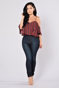 Stripes Top - Burgundy Angle 5