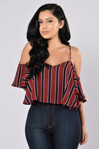 Stripes Top - Burgundy Angle 1