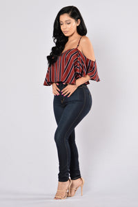 Stripes Top - Burgundy Angle 2