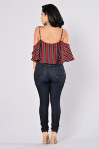 Stripes Top - Burgundy Angle 6