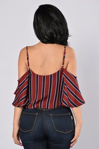 Stripes Top - Burgundy Angle 3
