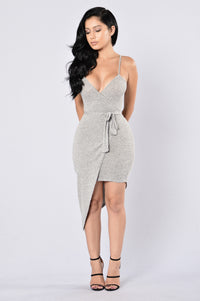 Calm and Collected Dress - Heather Grey Angle 1