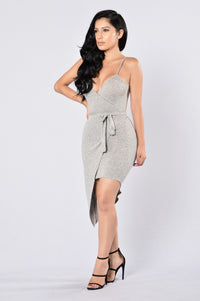 Calm and Collected Dress - Heather Grey Angle 3