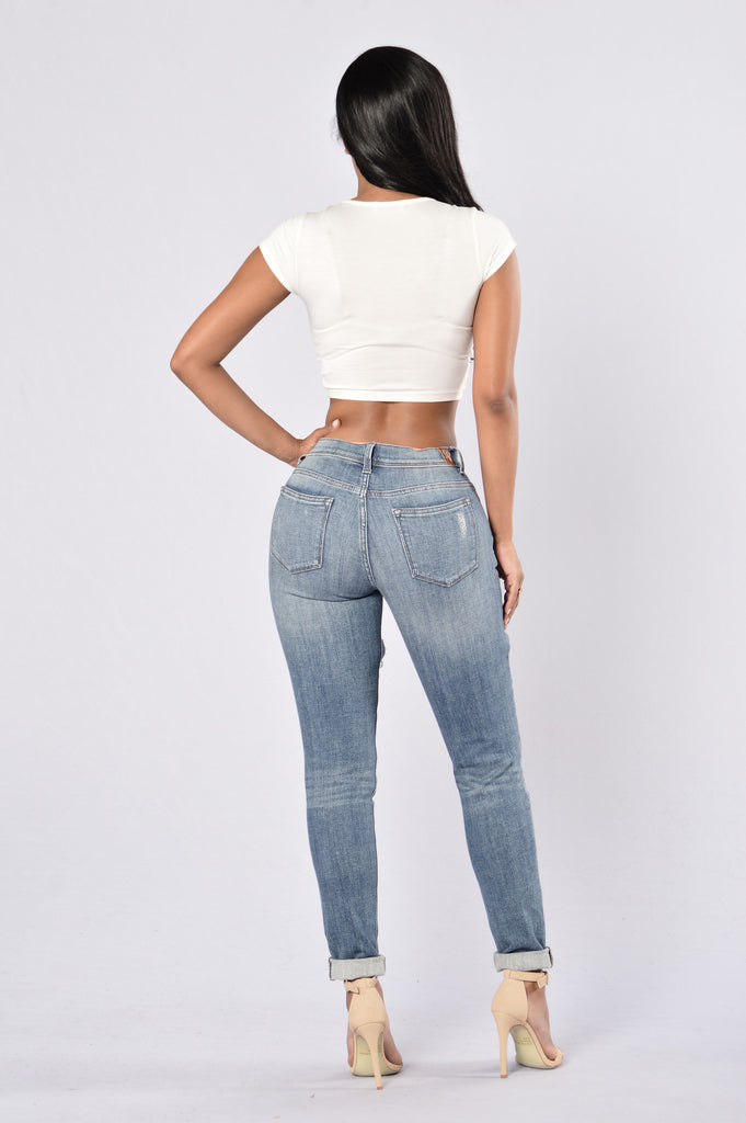 Clayton Boyfriend Jeans - Medium Dark