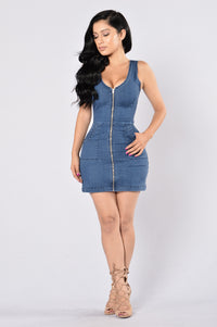 Britney Denim Dress - Medium Blue