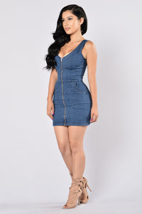 Britney Denim Dress - Medium Blue Angle 6