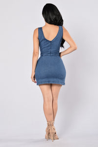 Britney Denim Dress - Medium Blue Angle 5