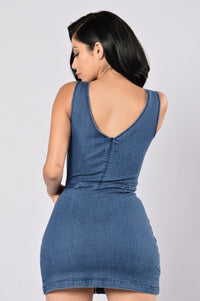 Britney Denim Dress - Medium Blue Angle 4