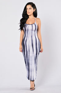 Mermaid On Land Dress - Navy