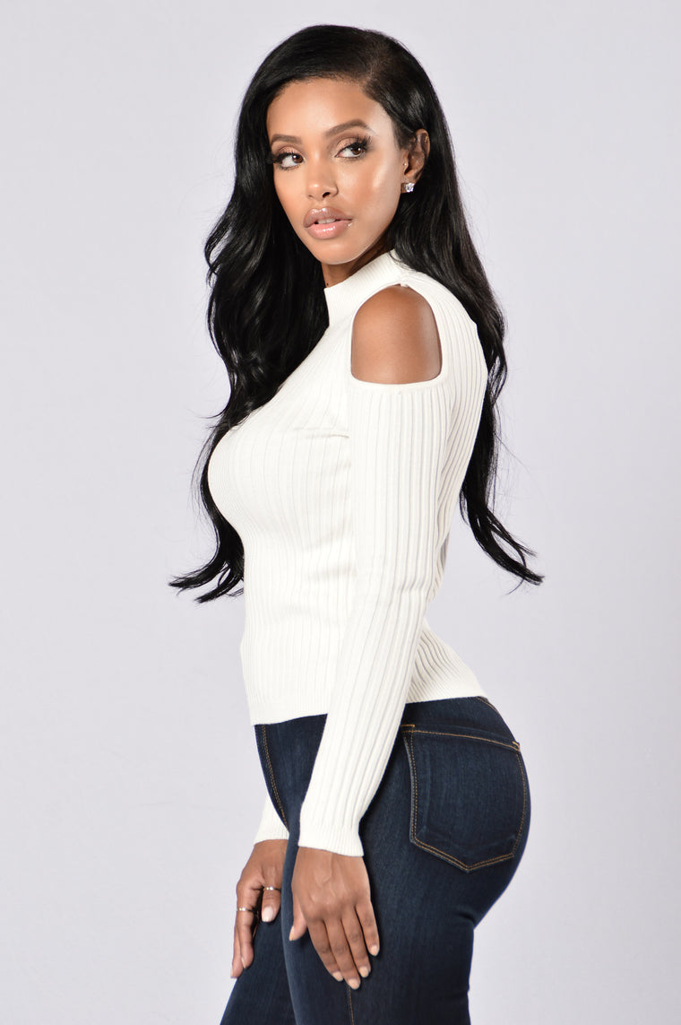 Give Him The Cold Shoulder Top - Ivory