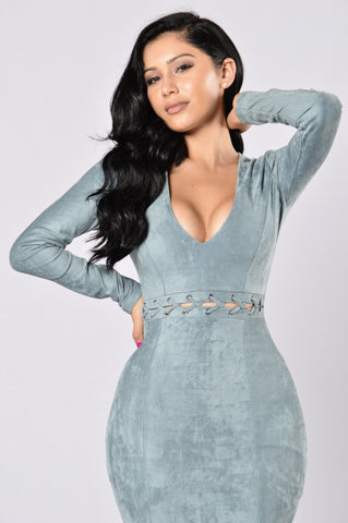 Dressed To Kill Dress - Blue Grey