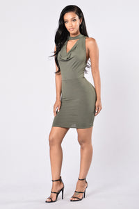 Looking For Trouble Dress - Olive Angle 1