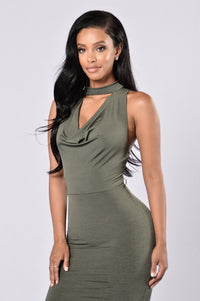 Looking For Trouble Dress - Olive Angle 4