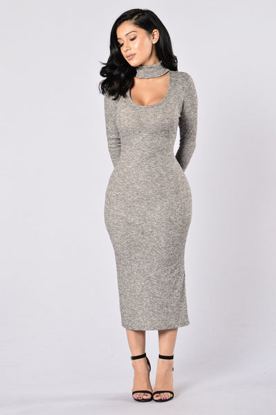 Sexy Sweater Dress - Grey