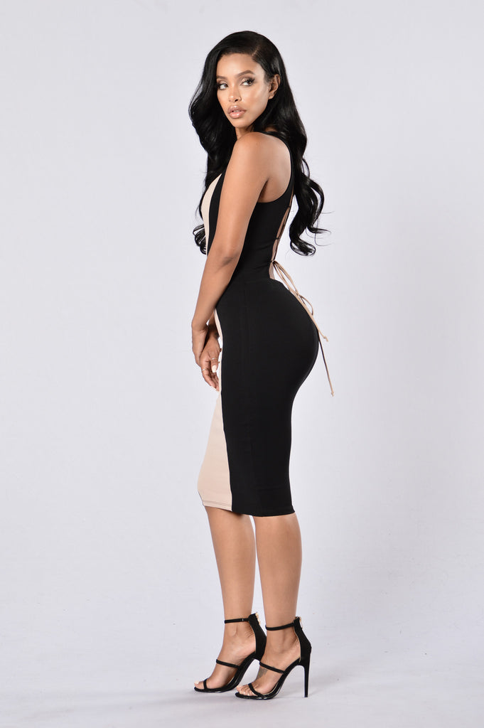 Illusionist Dress - Black/Taupe