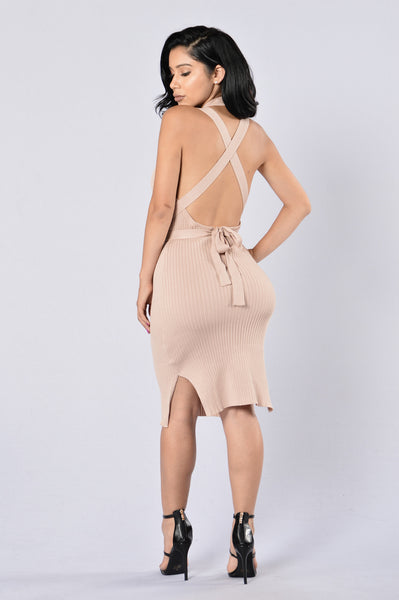Sexy Wrap Dress- Taupe