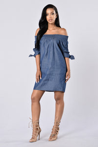 Angel on My Shoulder Dress - Denim Blue Angle 1