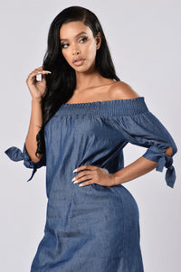 Angel on My Shoulder Dress - Denim Blue Angle 2