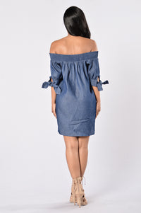 Angel on My Shoulder Dress - Denim Blue Angle 5