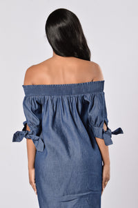Angel on My Shoulder Dress - Denim Blue Angle 3