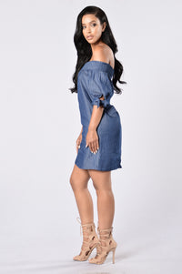 Angel on My Shoulder Dress - Denim Blue Angle 6
