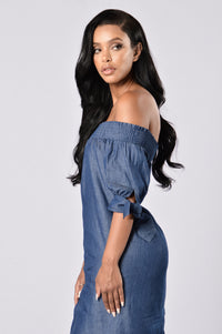 Angel on My Shoulder Dress - Denim Blue Angle 4