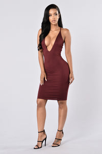 Let's Get Out Of Here Dress - Burgundy Angle 1