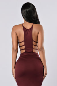 Let's Get Out Of Here Dress - Burgundy Angle 2