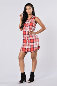 Country Gal Dress - Red Angle 1
