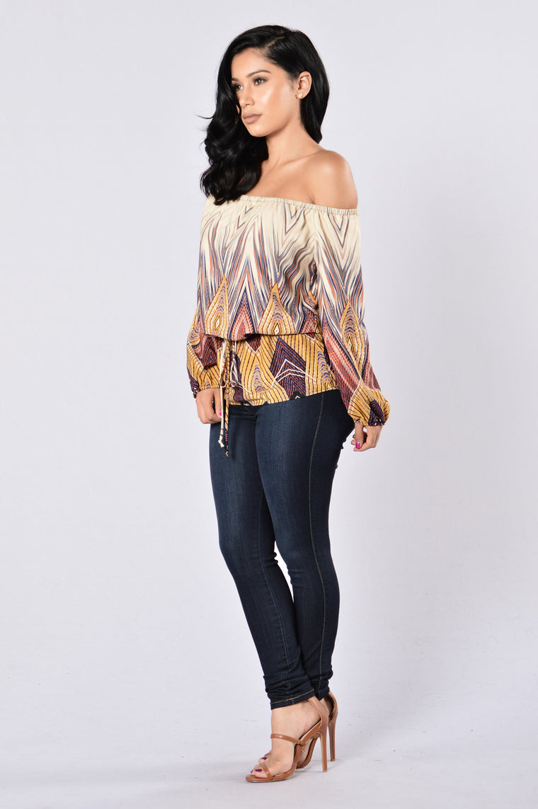 Just Around The Riverbed Top - Taupe Multi