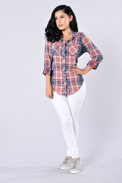 Favorite Flannel Top - Red Indigo