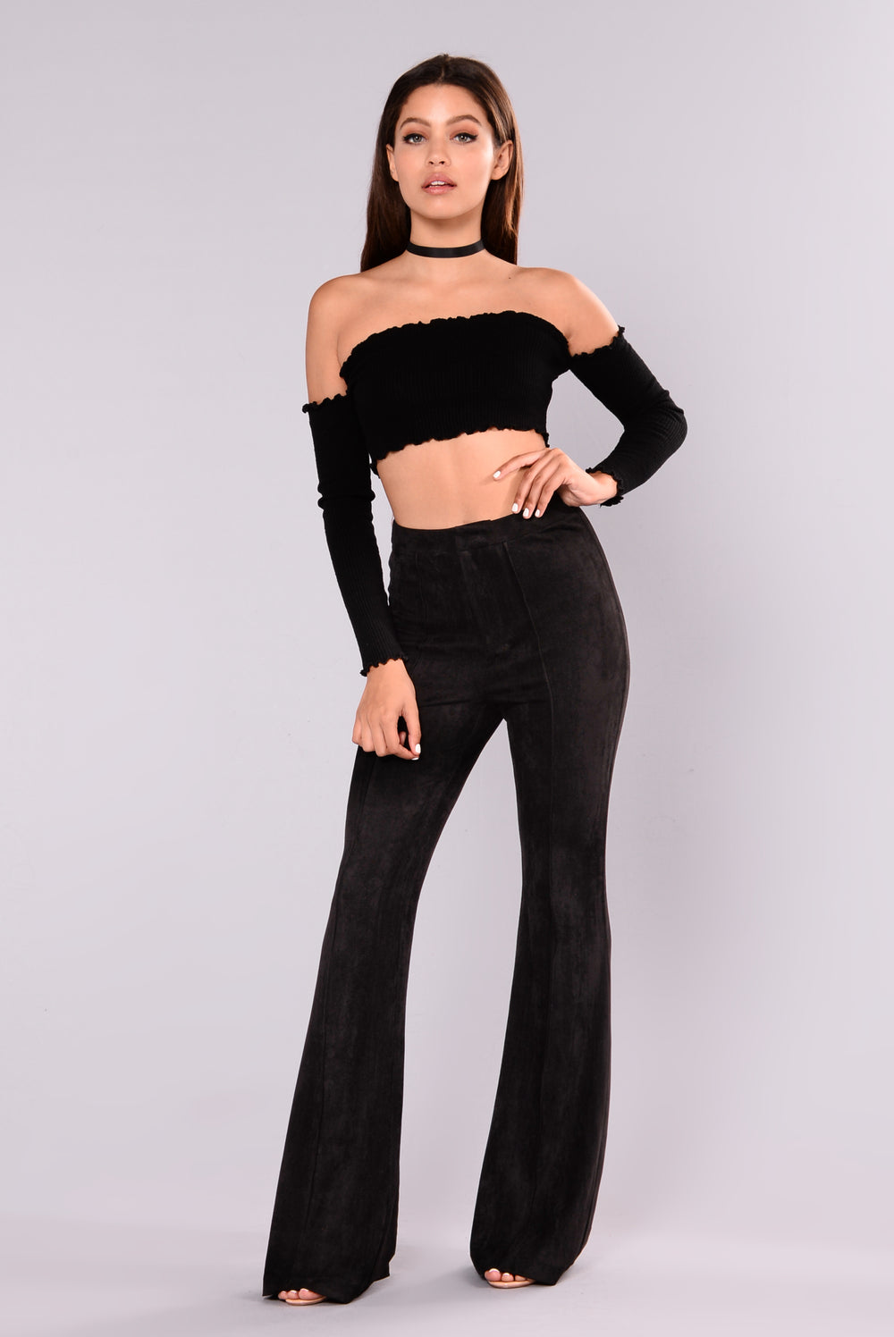 Lucy Stretch Suede Pants - Black