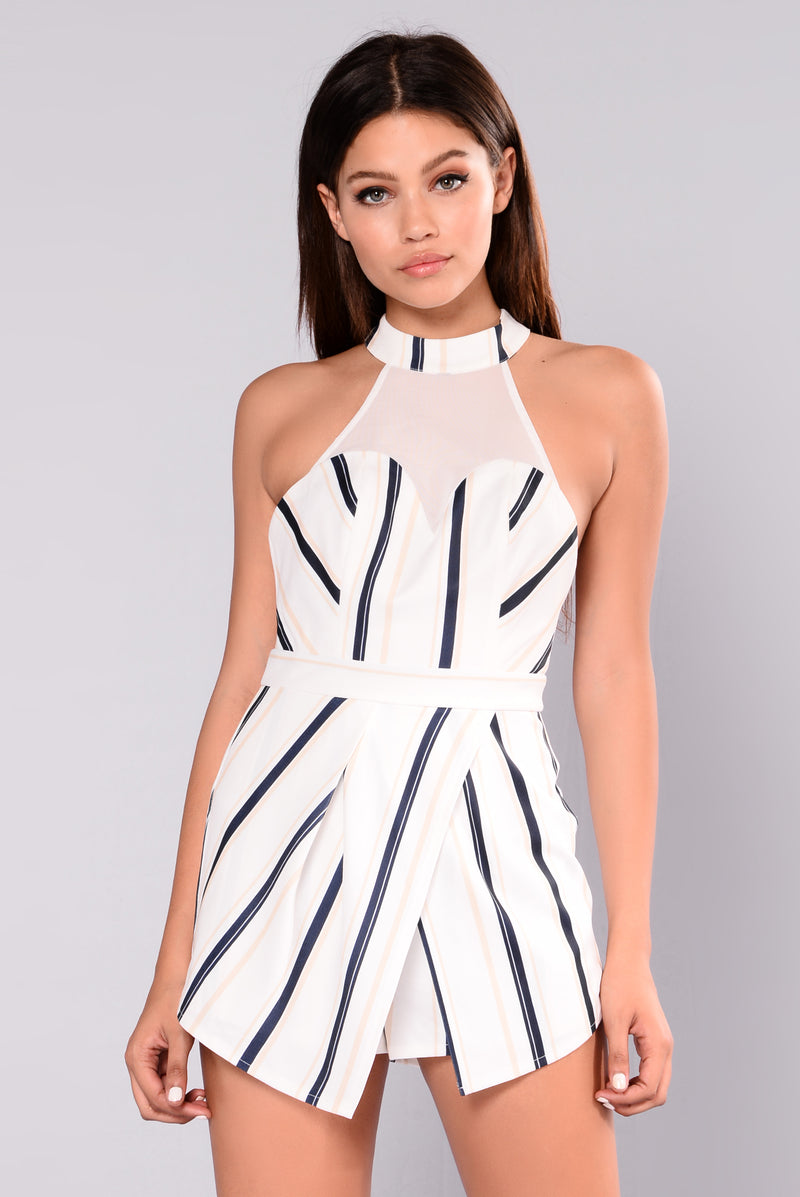 Kalia Striped Romper - White