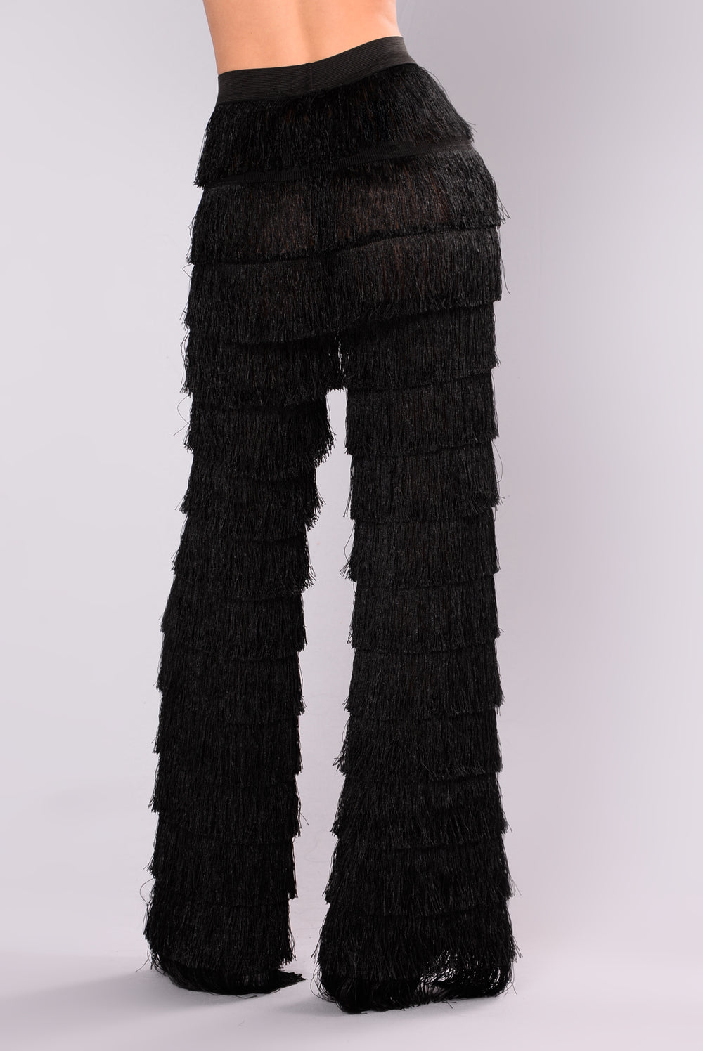 Katyana Layered Fringe Pants - Black