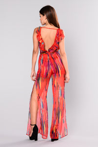 Life In Color Striped Jumpsuit - Red