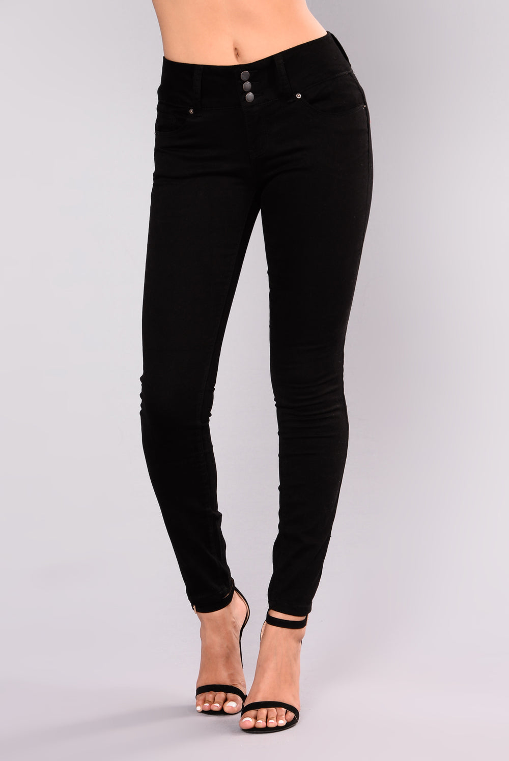 Devina Booty Shaping Twill Pants - Black