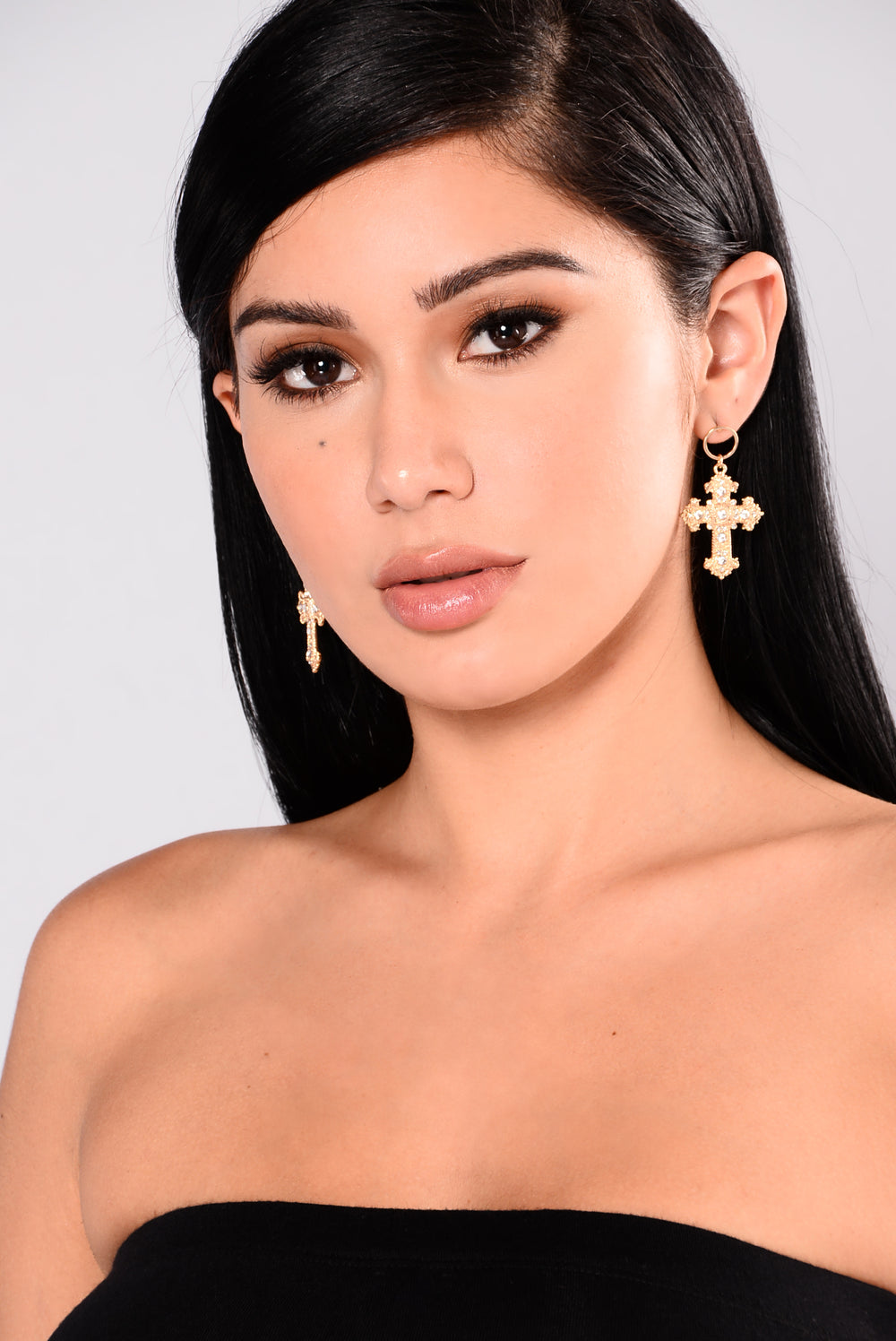 Maryana Cross Earrings - Gold