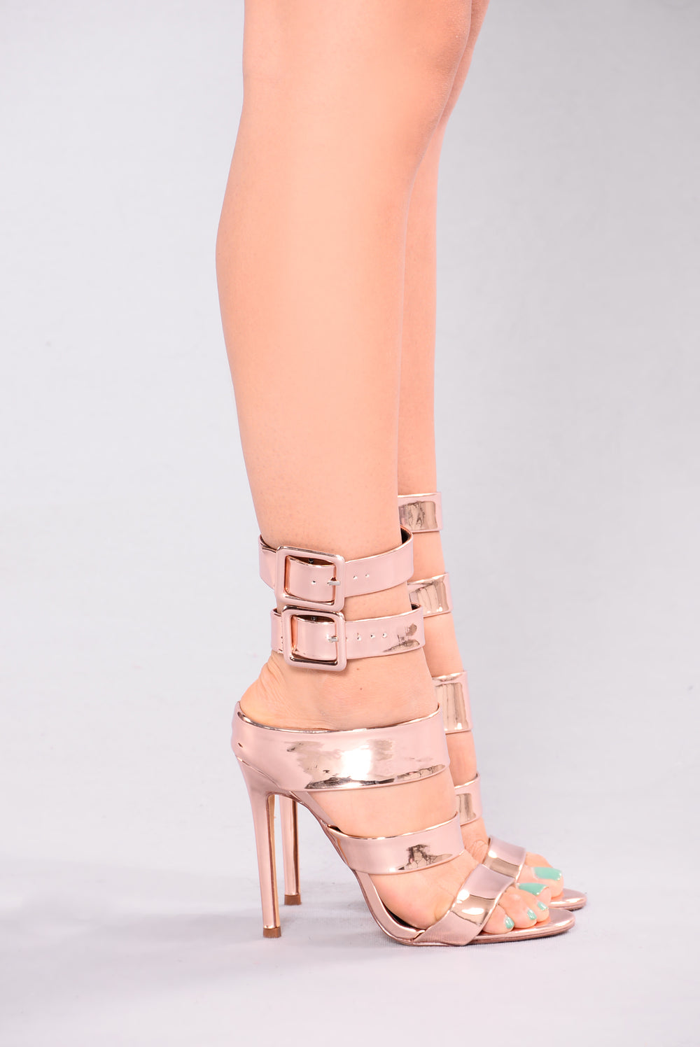 Evelina Strappy Heel - Rose Gold