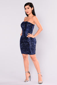 Andrea Sequin Dress - Navy