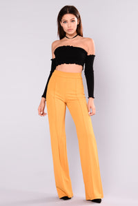 Victoria High Waisted Dress Pants - Mustard Angle 1
