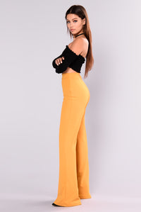 Victoria High Waisted Dress Pants - Mustard Angle 6