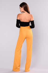 Victoria High Waisted Dress Pants - Mustard Angle 3