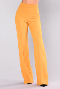 Victoria High Waisted Dress Pants - Mustard Angle 2