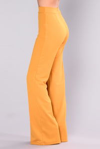 Victoria High Waisted Dress Pants - Mustard Angle 4