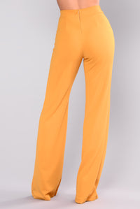Victoria High Waisted Dress Pants - Mustard Angle 5