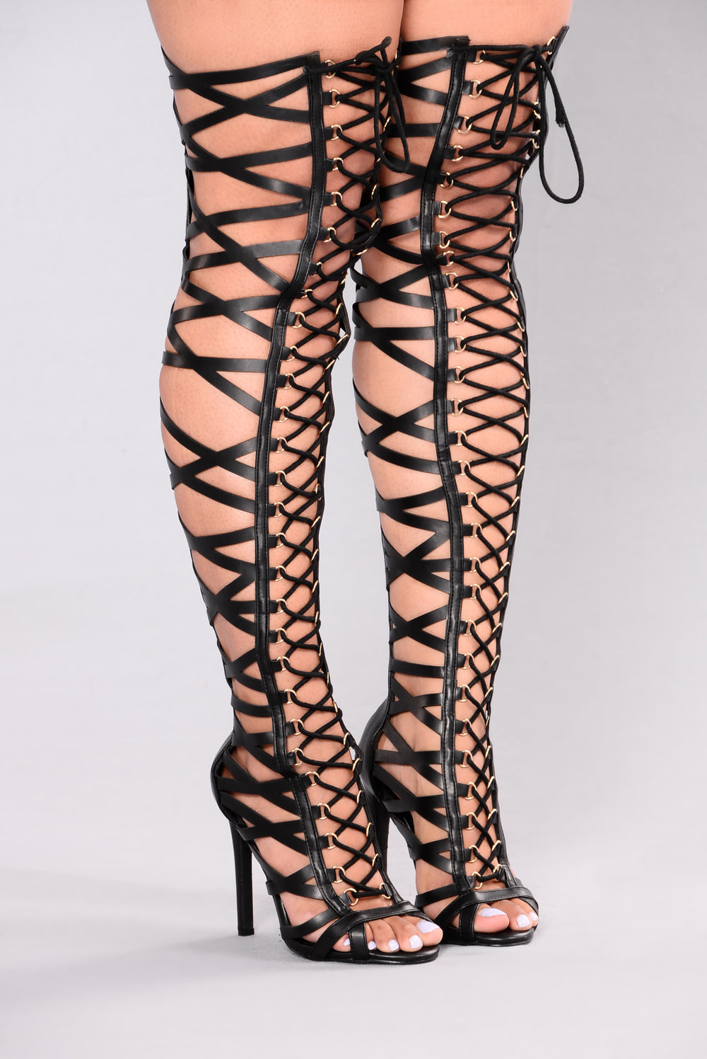 Gladiator Heel Over The Knee - Black