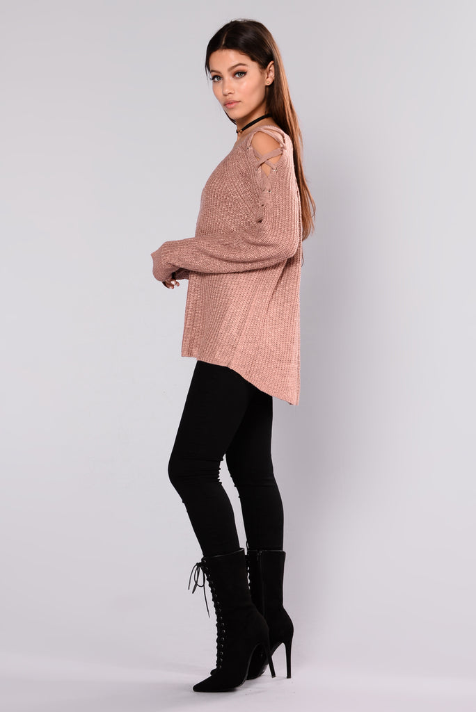 Kaliah Lace Up Sweater - Dusty Pink