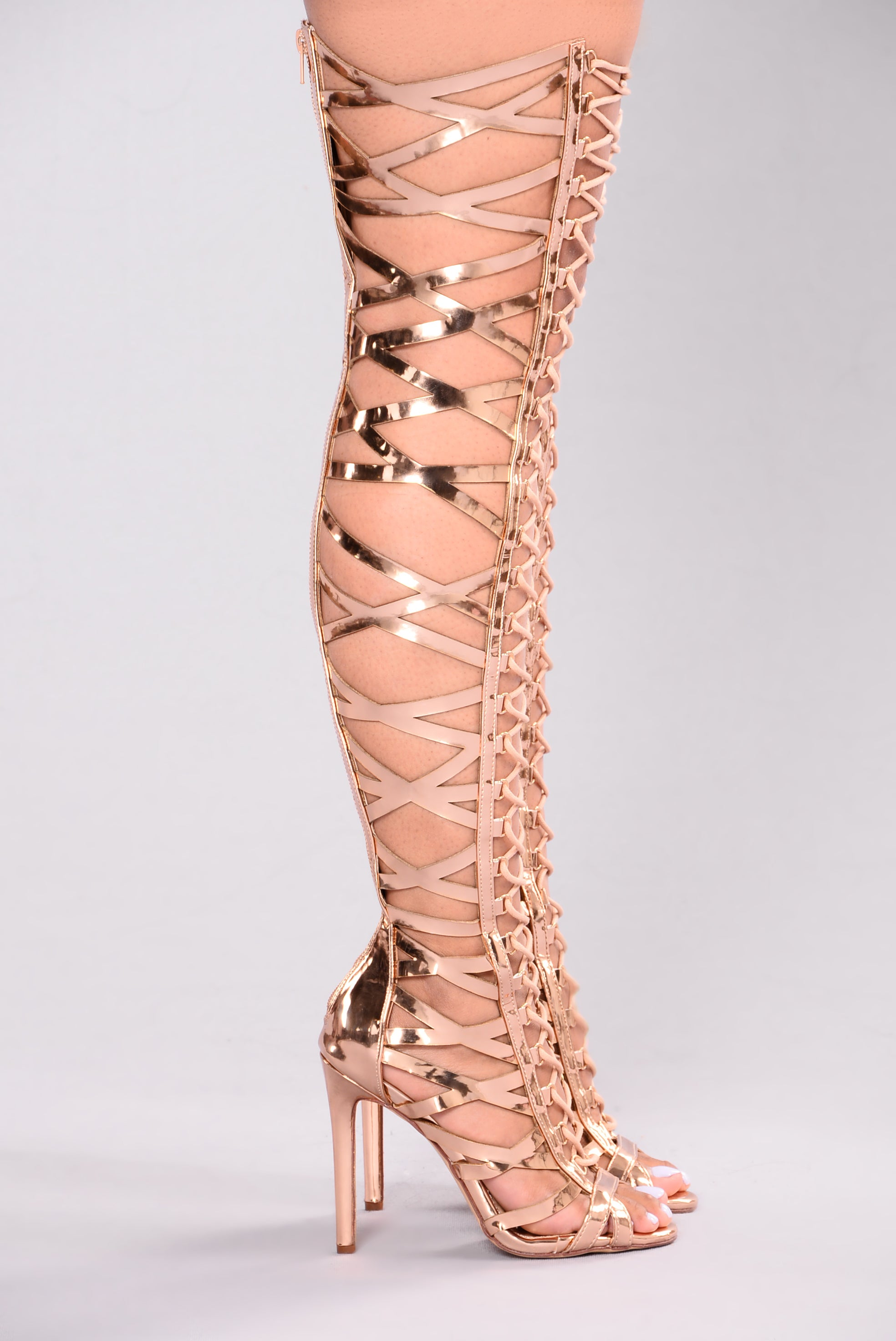gladiator heel over the knee rose gold. Black Bedroom Furniture Sets. Home Design Ideas
