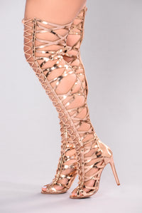 Gladiator Heel Over The Knee - Rose Gold