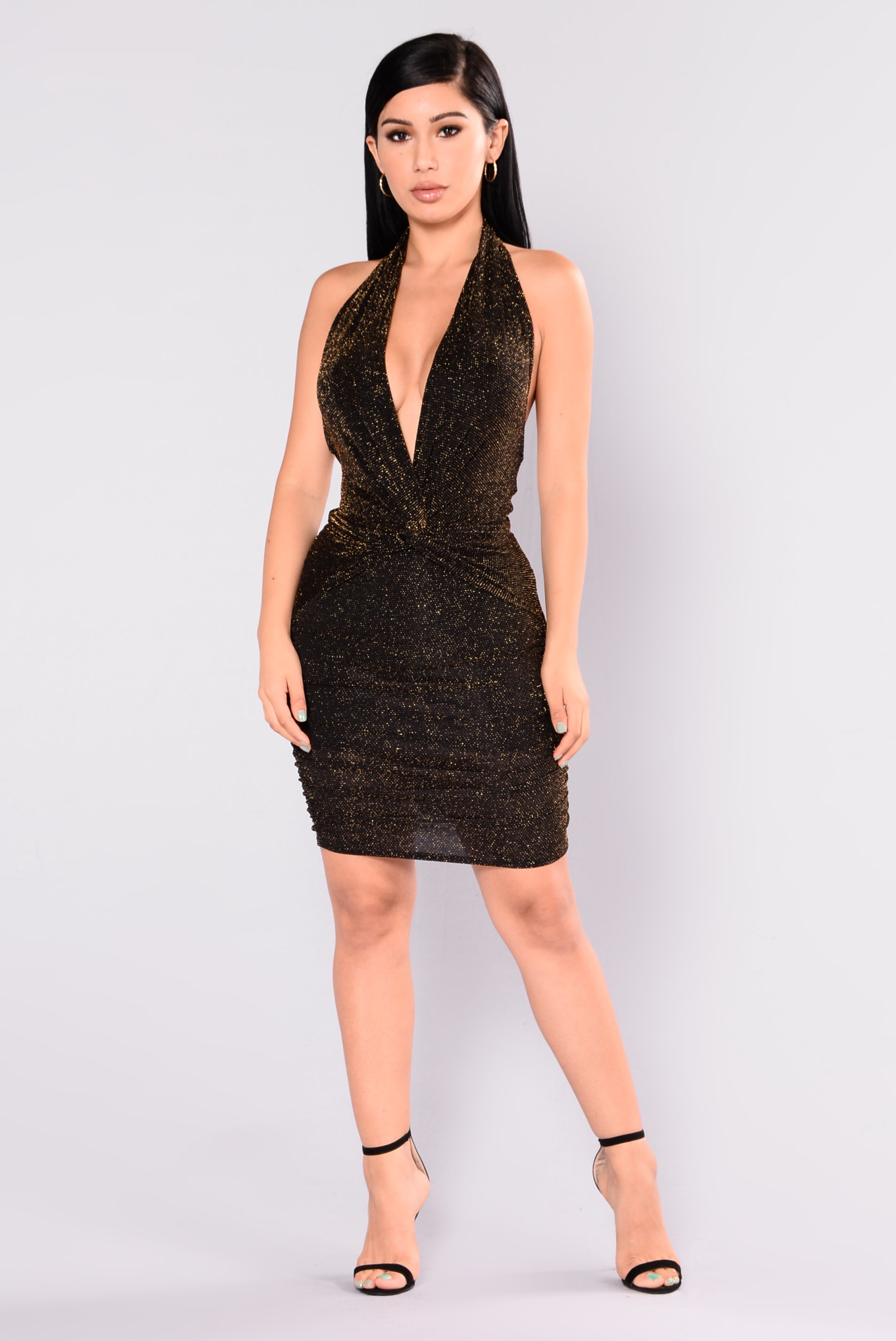 Black and Gold Sparkly Dress